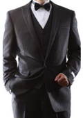 SKU#KA8796 Men's Single Breasted One Button Black 3 Piece Vested Tuxedo Suit Slim Fit