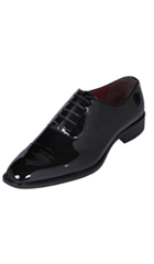 SKU#KA8936 Men's Black Classic Patent Cap-Toe Tuxedo Oxford Dress Shoe