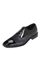 Mens Black Classic Patent Cap-Toe Oxford Dress Shoe $99