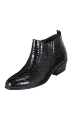 Mens Black Dress Boot Belly Snake Print $99