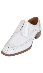SKU#KA3968 Mens Cream ~ Ivory ~ Off White Classic Smooth Dress Shoe with Wing-Tip and Perforated Detailing
