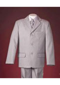 Beautiful Pinstripes Elegant Notch Lapel 3 Buttons Light Grey Taylor Made Boy Suit $79
