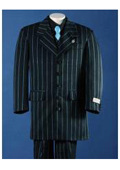 Longer Fashion Zoot Black With Light Blue ~ Sky Blue Pinstripe Five Buttons Front Personality Custom Boy Suit $74