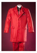 SKU#KA9272 3 Piece Pinstripes Bright Red Notch Lapel Cheap Design For Boys Suits $99