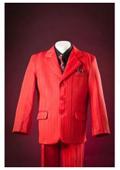 SKU#KA8736 Red Pinstripes Notch Lapel Single Breasted Designer Custom Fully Lined Boys Suits $99