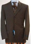 Chocolate brown pinstripe 3 Button suit 100% Wool Feel Touch Poly Rayon $129