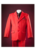 SKU#KA2432 Red Pinstripes Notch Lapel Single Breasted Designer Boys Suits $99