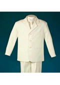 Ivory 3 Piece Discounted Sale Polyester Single Breasted Notch Center Rear Vent Boys Suit $79