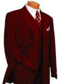 Burgundy ~ Maroon ~ Wine Color DRESS three piece suit 3 Button 3 Pieces With Nice Cut Smooth Soft Fabric Mens Suits $139