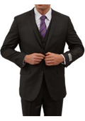 Tapered Leg Lower rise Pants & Get skinny Two Button Three Piece Notch Lapel Euro Slim Fit Suit Tapered pants - Black $165