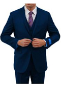 SKU#KA6785 Two Button Three Piece Notch Lapel Euro Slim Fit Suit Tapered pants Navy $225
