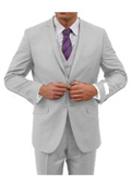 Two Button Three Piece Notch Lapel Euro Slim Fit Suit Tapered pants Light-Grey