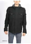 Hooded Black Wool Military