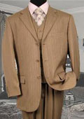 Men's 3 Piece Tan ~ Beige/Beige Pinstripe Vested Available 2 Button Style Jacket $169