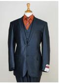 SKU#KA8773 Mens 3 Piece Sharkskin Suit Flat Front Pants Shiny Flashy Satin Silky Metallic Blue $175