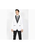 SKU#KA5287 Mens White Black Shawl Collar Slim Fit 2 Peice Tuxedo