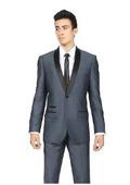 Sku#KA6733 Midnight Navy Blue Shawl Collar Slim Fit 2 Piece Tuxedo Suit Black Lapel