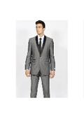 SKU#KA7004 Mens Grey ~ Gray Shawl Collar Slim Fit Tuxedo Suit Black Lapled Blazer Sportcoat Dinner Jacket Looking!