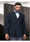Double Breasted Mens Solid Navy Sport Coat With 2 Side Vent $175