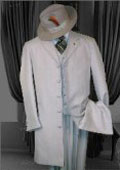 SKU DIQ471 SILVER Shadow Pinstripe 3PC FASHION ZOOT SUIT WITH A VEST 119