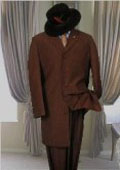 SKU 7853 Solid BROWN MENS FASHION ZOOT SUIT 38 LONG JACKET WITH COVERED BUTTON 139