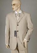 SKU# GKL1793BSV Tan ~ Beige Double Vent Super 120's Wool Mens Dress Buienss 3 Buttons Suits