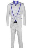 Piece Blazer+Trouser+Waistcoat White/Black Trimming