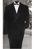 SKU#KA6639 Double Breasted Mens Black Tuxedo Super 150's French Cut $174