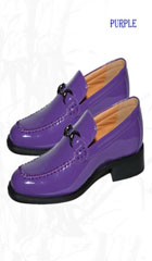 New Men's Shiny Classic Vintage Style Loafer Purple Shoe Dress Faux Leather $65