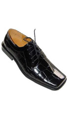 SKU#KA6221 Men's Shiny Croc Pattern Oxfords PU Leather Dress Shoes Black