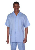 Summer Short Sleeve Shirt & Pants Walking Casual Suit Set Mens Suit 100% Linen Fabric � Light Blue ~ Sky $75