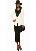 SKU#KA7726 Lynda Couture Promotional Ladies Suits – Ivory With Black