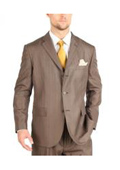 Tazio Suit Three Button Tone on Tone Shadow Stripe ~ Pinstripe Traditional Fit -Dark Cocoa$139