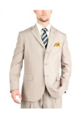 Tazio Suit Three Button Tone on Tone Shadow Stripe ~ Pinstripe Traditional Fit -Tan ~ Beige $139