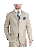 Tazio Suit Three Button Tone on Tone Shadow Stripe ~ Pinstripe Traditional Fit -Stone $139