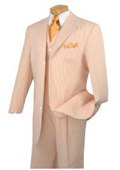 SKU#KA4757 Peach ~ orange Vested Seersucker 3 Piece Fashion Length Suit