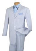 SKU#KA4767 Mens Fashion Baby Blue Seersucker 3 Piece Suit