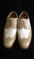 SKU#KA2441 Mens Two Tone Shoes Oyster /White