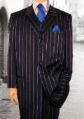 SKU IDI302 Mens Italian Black  Royal Blue French Blue Stripe Pinstripe Dress Fashion Zoot Suit 179