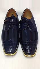 SKU#KA6320 Mens Navy Blue tone on tone Shoes