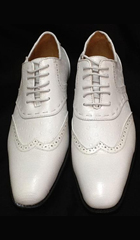 SKU#KA6320 Mens White Two Tone Shoes