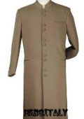 Tan ~ Beige/Taup/khaki Matrix Style 45 Icnh Full Length Mandarin Collar 10 Button (5 x 2 Pair) $139