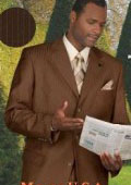 Chocolate Brown Shadow Stripe Super 150's Wool Feel Touch Poly Rayon Ton on Ton Pinstripe Double Vent $139
