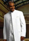 Matrix Style White 45 Icnh Full Length Mandarin Collar 10 Button (5 x 2 Pair) $189