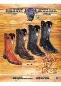 SKU#PN_J32 Rodeo Toe Genuine Shark In Rubber Sole Cowboy Western Boots Multi-color