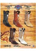 SKU#PN_E51 Rodeo Toe Genuine Shark Cowboy Western Boots Multi-color