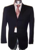Fine Men's Dress Formal Jet Black Super Wool Suit year round $139