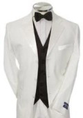 Light Weight White Mens Tuxedo 1 or 2 or 3 Button Tuxedo Suit Black Vest + Tuxedo Shirt & Bow Tie Packag $169