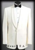 1 Button Shawl Lapel Dinner Jackets - Ivory (Cream ~ Ivory ~ Off White)100% Tropical Wool $199
