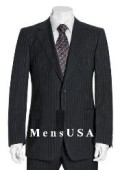 NEW Black & Gray Pinstripe Suit Wool 2 Button Jacket Pleated Pants No non back vent coat style coat $199